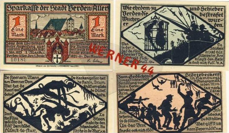Städte Notgeldscheine-Banknoten während der Inflationszeit v.1922 Verden 25,50,75Pfg.+1Mark