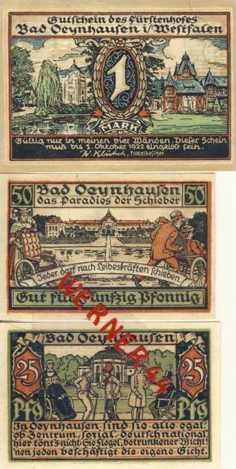 Städte Notgeldscheine - Banknoten während der Inflationszeit v.1921 Oeynhausen 25,50Pfg .+1Mark -