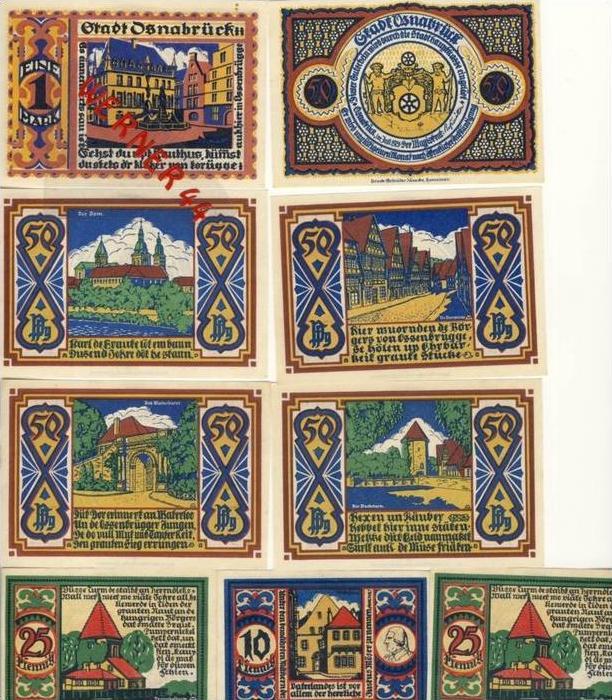 Städte Notgeldscheine - Banknoten während der Inflationszeit v. 1921Osnabrück 5,10,25,5x50Pfg.+1Mark -