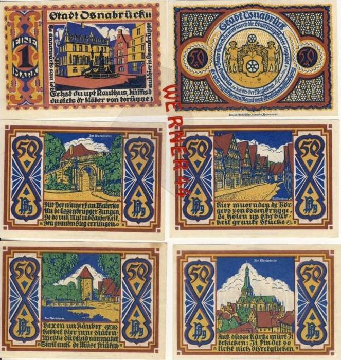 Städte Notgeldscheine - Banknoten während der Inflationszeit v. 1921Osnabrück 5x50Pfg.+1Mark -