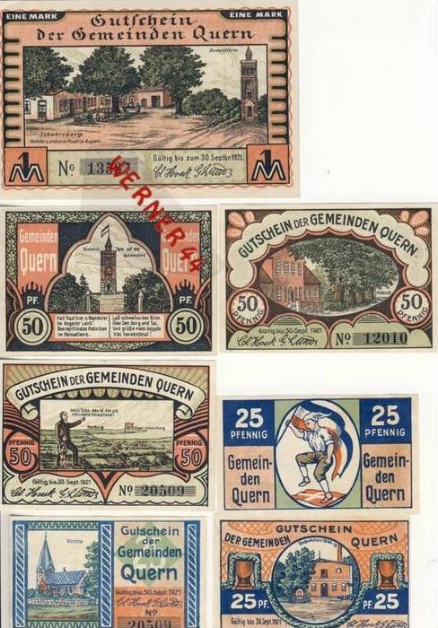 Städte Notgeldscheine - Banknoten während der Inflationszeit v. 1921 Quern 3x25,3x50Pfg.+1Mark. -