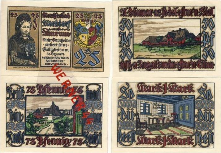 Städte Notgeldscheine - Banknoten während der Inflationszeit v. 1921 Norddorf 25,50,75 Pfg..+1Mark. -