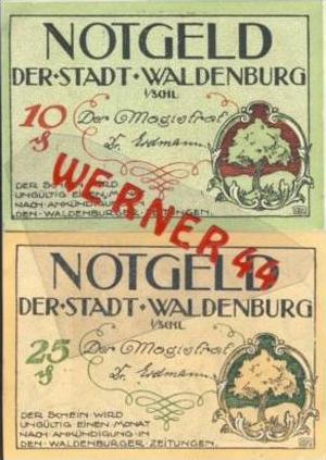 Städte Notgeldscheine - Banknoten während der Inflationszeit v.1920 Waldenburg-Schl. 10,25 Pfg. -