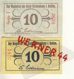Städte Notgeldscheine - Banknoten während der Inflationszeit v.1919 Waldenburg-Schl. 2x10 Pfg. -