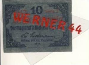 Städte Notgeldscheine - Banknoten während der Inflationszeit v.1918 Waldenburg-Schl. 10 Pfg. -