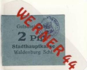 Städte Notgeldscheine - Banknoten während der Inflationszeit v.1918 Waldenburg-Schl. 2 Pfg. -