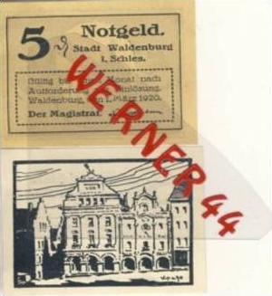 Städte Notgeldscheine - Banknoten während der Inflationszeit v.1918 Waldenburg-Schl. 2x5 Pfg. -