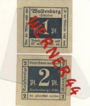 Städte Notgeldscheine - Banknoten während der Inflationszeit v.1918 Waldenburg-Schl. 1,2 Pfg. -