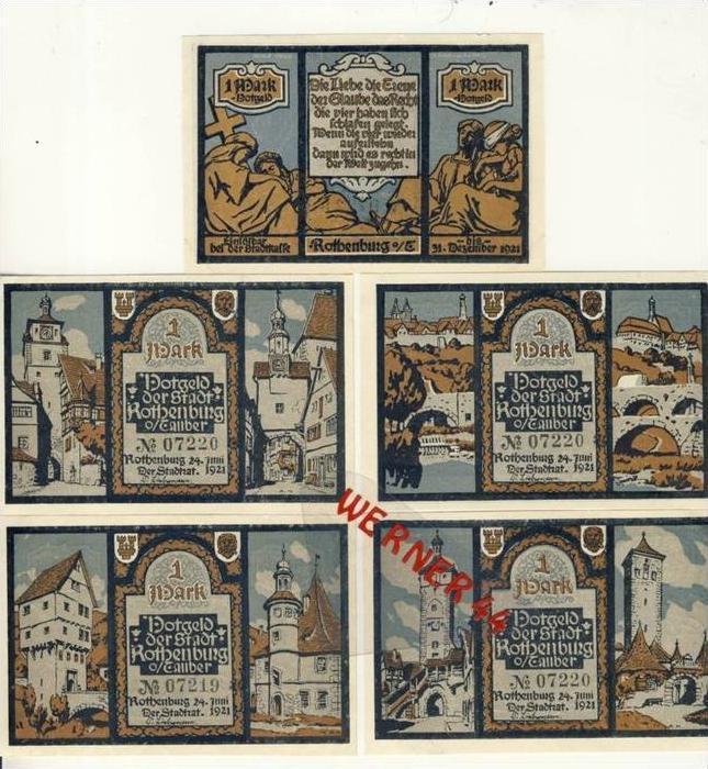 Städte Notgeldscheine - Banknoten während der Inflationszeit v.1921 Rothenburg 5x1 Mark -