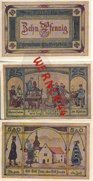 Städte Notgeldscheine - Banknoten während der Inflationszeit v.1921 Wasserleben 10,25,50 Pfg.-