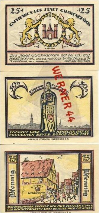 Städte Notgeldscheine - Banknoten während der Inflationszeit v.1921Quakenbrück 25,50,75 Pfg.-
