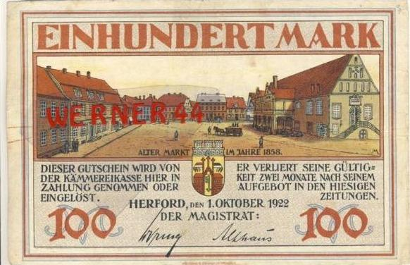 Städte Notgeldscheine - Banknoten während der Inflationszeit v. 1922 Herfort 100 Mark