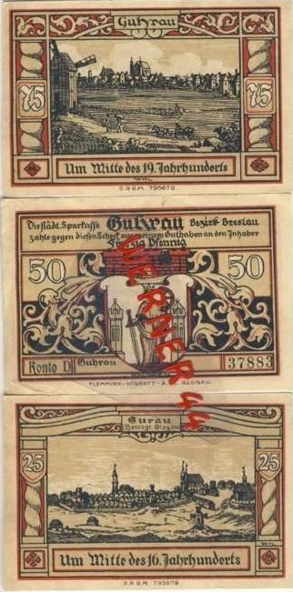 Städte Notgeldscheine - Banknoten während der Inflationszeit v. 1923 Guhrau 25,50,75 Pfg.