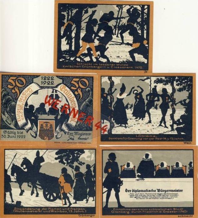 Städte Notgeldscheine - Banknoten während der Inflationszeit v. 1922 Grünberg 5x50Pfg.