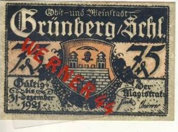 Städte Notgeldscheine - Banknoten während der Inflationszeit v. 1922 Grünberg 10Pfg.