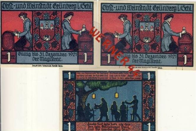 Städte Notgeldscheine - Banknoten während der Inflationszeit v. 1922 Grünberg 3x 1 Mark