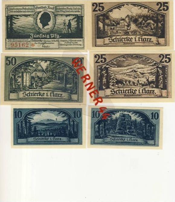 Städte Notgeldscheine - Banknoten während der Inflationszeit v. 1921 Schierke 2x10,2x25,2x50 Pfg.