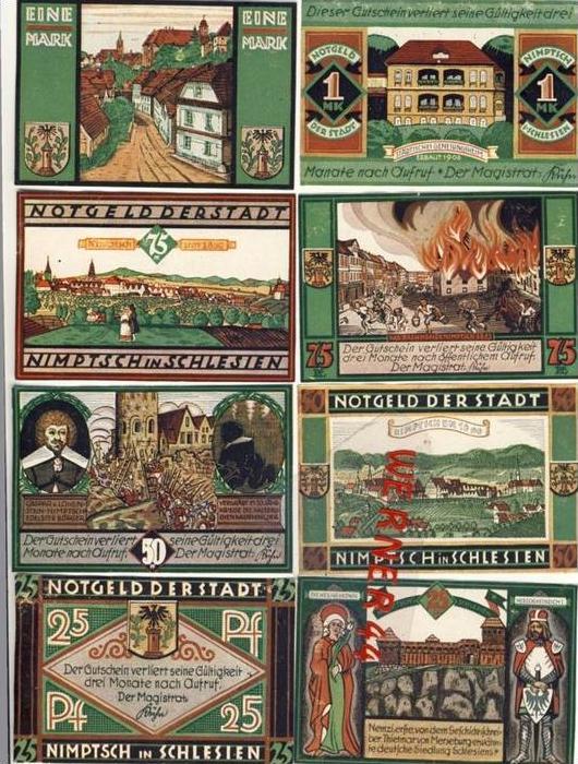 Städte Notgeldscheine - Banknoten während der Inflationszeit v.1921Nimptsch 2x25,2x50,2x75 Pfg.+2x1 Mark