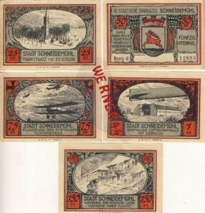 Städte Notgeldscheine -Banknoten während der Inflationszeit v.1921Schneidemühl 25,50,75 Pfg.+1+1,50 Mark