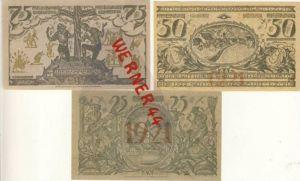 Städte Notgeldscheine -Banknoten während der Inflationszeit v.1921 Oberammergau 25,50,75 Pfg.