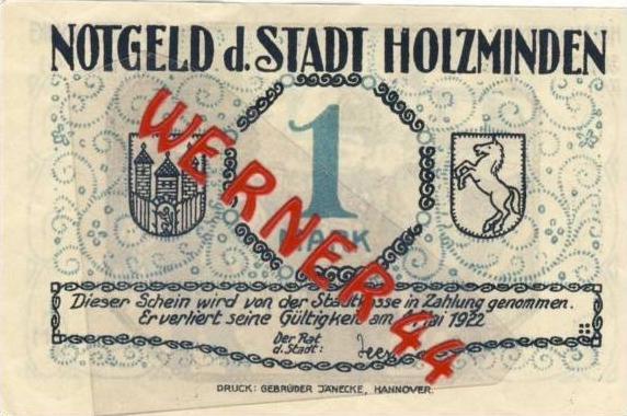Städte Notgeldscheine - Banknoten während der Inflationszeit v. 1922 Holzminden 1 Mark