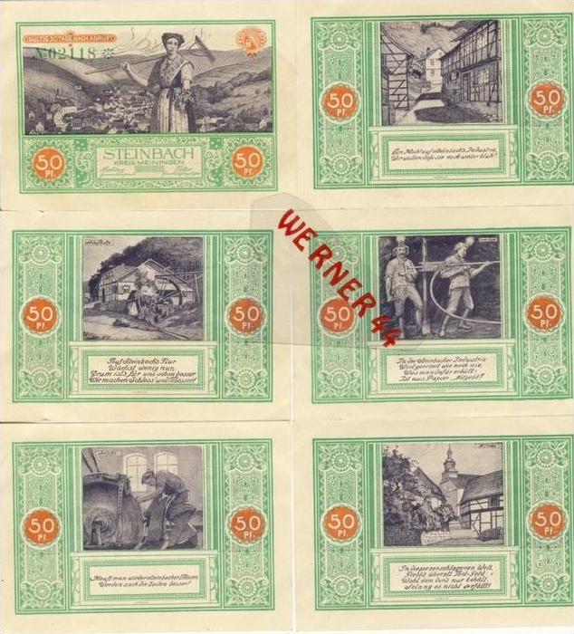 Städte Notgeldscheine - Banknoten während der Inflationszeit v. 1921 Steinbach 6x50Pfg.