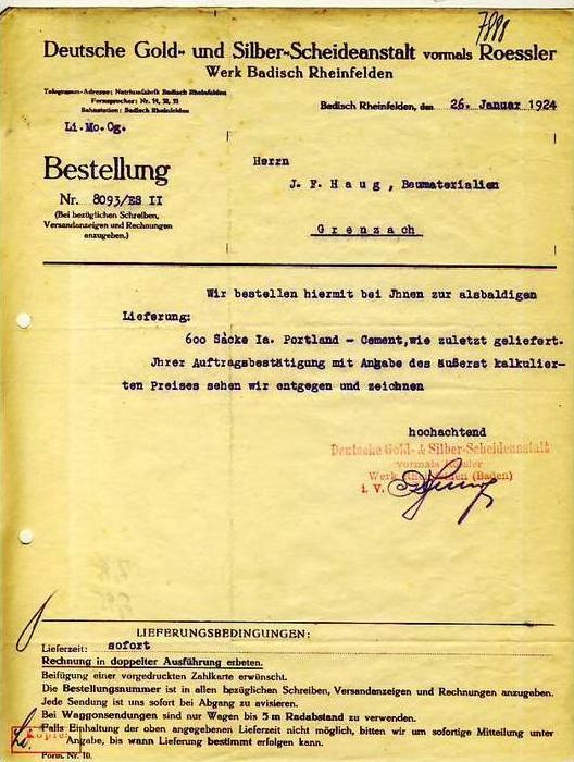 Badisch Rheinfelden v.1924 Scheideanstalt Gold ( 34585)