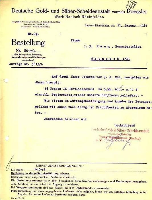 Badisch Rheinfelden v.1924 Scheideanstalt Gold ( 34586)