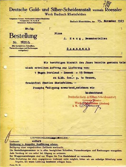 Badisch Rheinfelden v.1924 Scheideanstalt Gold ( 34587)