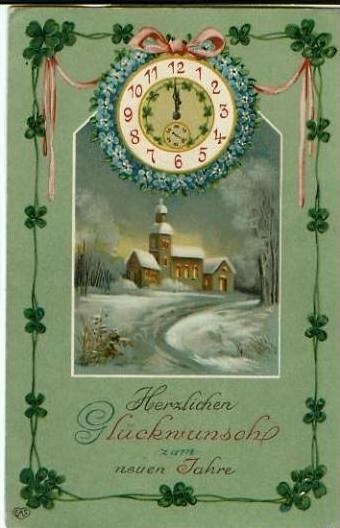 Neujahr v. 1924 Kirche & UHR (23222)