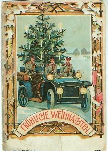 Fröhliche Weihnachten v. 1911  Alter PKW mit Weihnachtsbaum und Soldatn --  siehe Foto !!  (24080-05)
