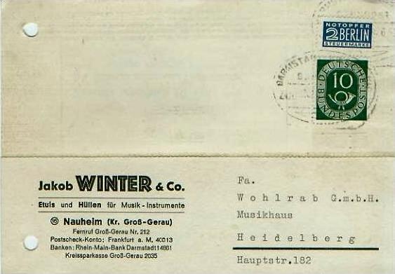 Nauheim v. 1952  Jakob Winter & Co.-Etuis und Hüllen für Musik-Instrumente  - siehe Foto !!  (24595)
