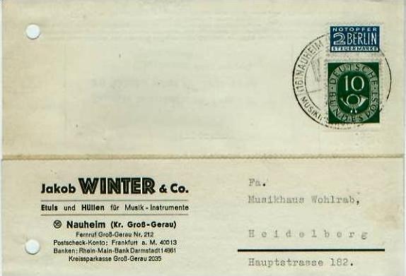 Nauheim v. 1952  Jakob Winter & Co.-Etuis und Hüllen für Musik-Instrumente  - siehe Foto !!  (24596)