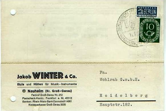 Nauheim v. 1952  Jakob Winter & Co.-Etuis und Hüllen für Musik-Instrumente  - siehe Foto !!  (24597)