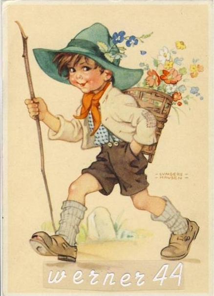 Junge beim Wandern mit Korb auf dem Rücken v. 1940  (26076)
