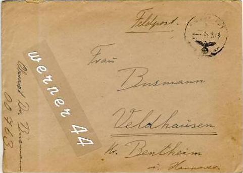 Veldhausen,Grafschaft Bentheim v. 1943  Pastor Busmann  (26446)