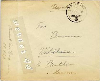 Veldhausen,Grafschaft Bentheim v. 1943  Pastor Busmann  (26447)