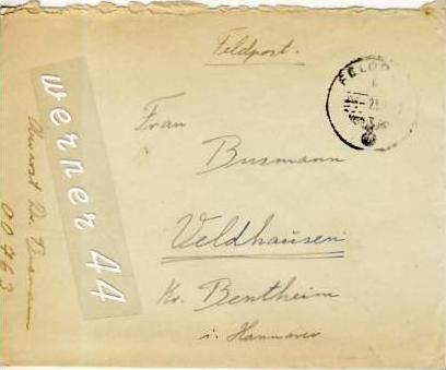 Veldhausen,Grafschaft Bentheim v. 1943  Pastor Busmann  (26449)