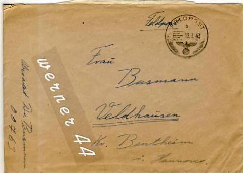Veldhausen,Grafschaft Bentheim v. 1943  Pastor Busmann  (26466)