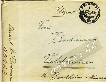 Veldhausen,Grafschaft Bentheim v. 1943  Pastor Busmann  (26477)