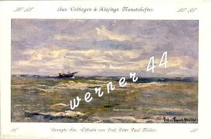 Velhagen & Klasings Monatshefter v. 1907 Bewegte See - Ölstudie von Prof. Peter Paul Müller  -  siehe Foto !!  (26700)
