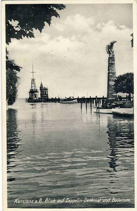 Konstanz v, 1956  Blick auf das Zeppelin Denkmal --  siehe Foto !!   (32111)