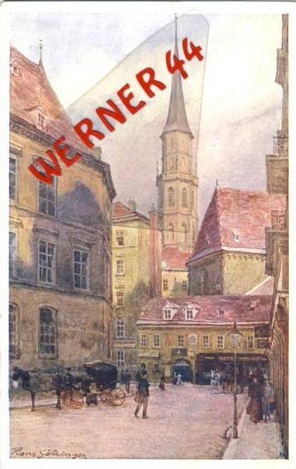 Wien v. 1918  Michaelerkirche und Geschäfte- siehe Foto !!  (36189)