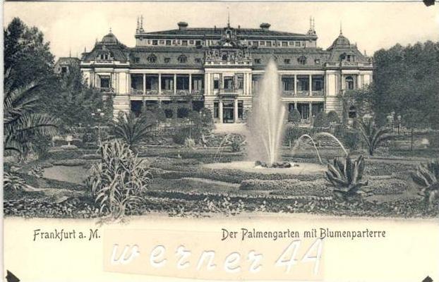 Frankfurt v. 1904  Der Plamengarten mit Blumenparterre -- siehe Foto !!  (32690)