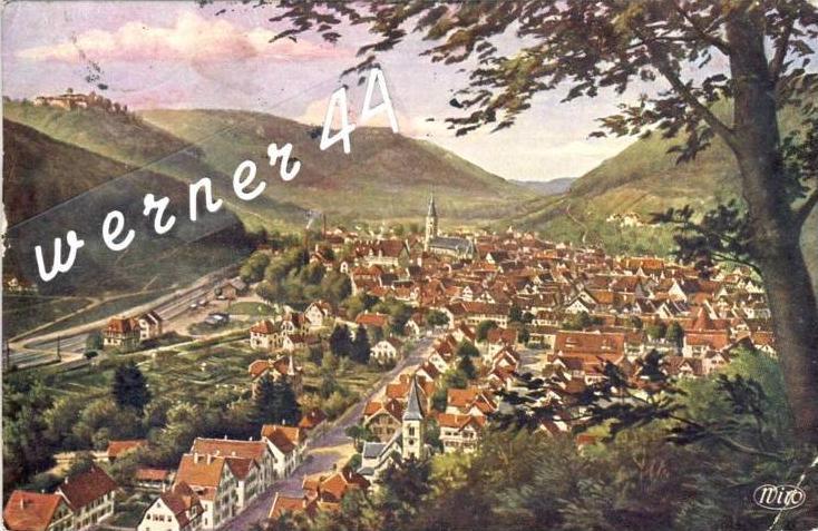 Urach v. 1935  Stadt & Ruine Hohentrach -- siehe Foto !!  (32823)