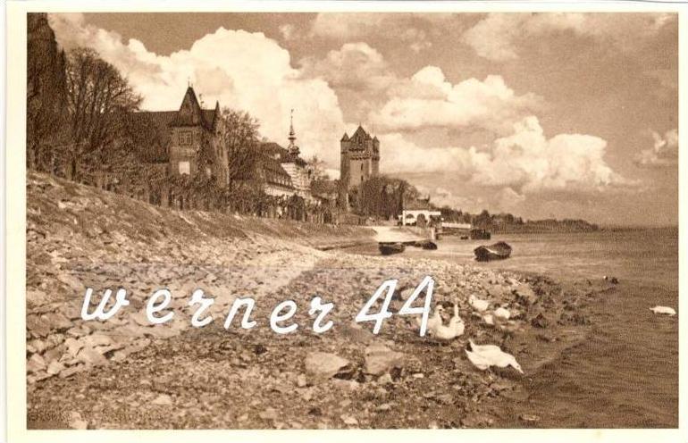 Eltville v. 1935 Teil-Stadt-Ansicht mit Gänse -- siehe Foto !!  (32869)