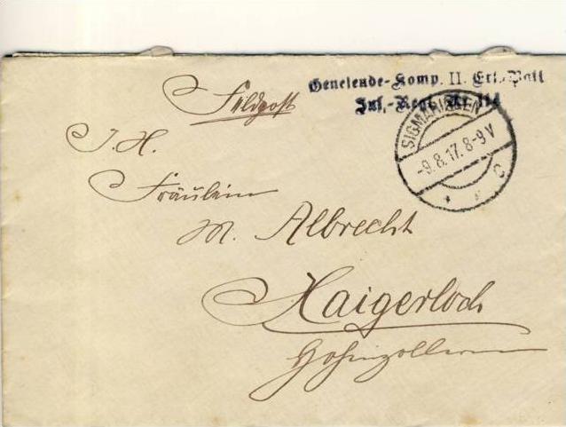 Radolfzell nach Haigerloch v. 1917  --  siehe Foto !!   (35151)