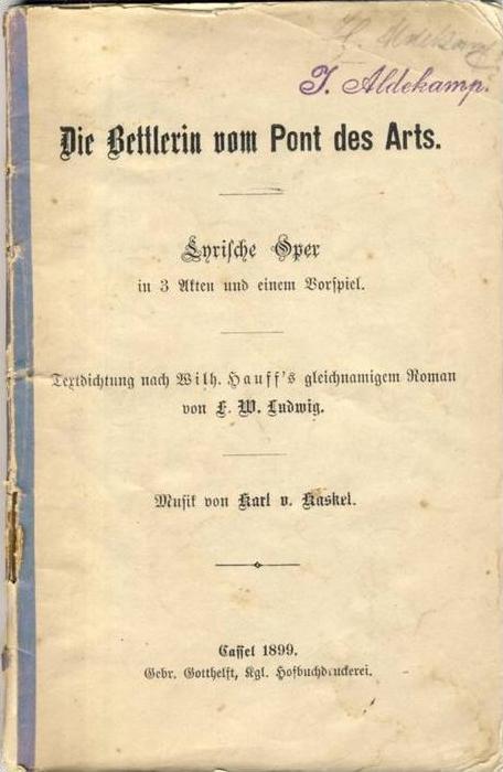 Cassel v. 1899  -- Die Bettlerin vom Pont des Arts  --
