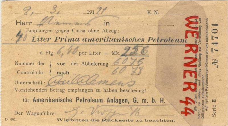 Amerikanische Petroleum Anlagen G.m.b.H v. 1921  40 Liter Prima amerikanisches Petroleum gekauft --- siehe Foto!!  (094)