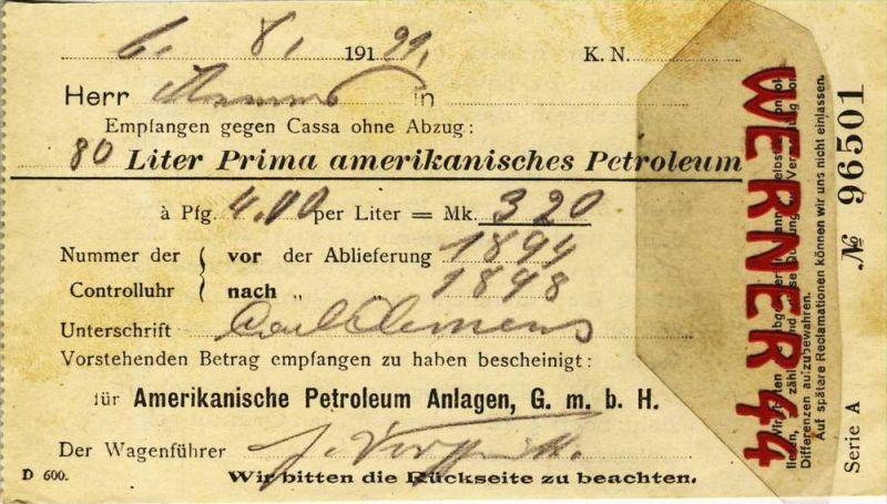 Amerikanische Petroleum Anlagen G.m.b.H v. 1921  80 Liter Prima amerikanisches Petroleum gekauft --- siehe Foto!!  (096)